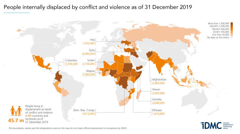 Number of people internally displaced by conflict and violence as of 31 December 2019, sorted by country.