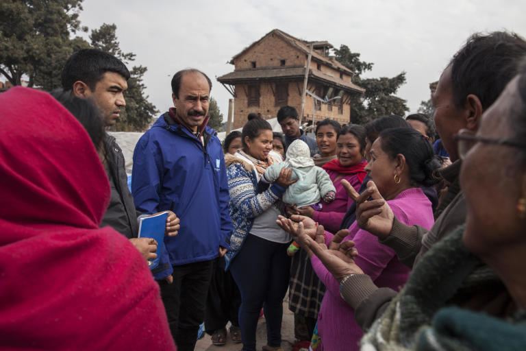 "Jamil Ahmed Awan is deployed from NORCAP  to the International Organisation for Migration in Nepal. IOM has been working to improve IDP sites in and around Kathmandu after the earthquake last year. Here in Bhaktapur, just outside Kathmandu, Jamil meets IDPs who tell him about their need for safe, clean water, protection from the cold weather and a chance to rebuild their homes which were damaged in the earthquakes. ""These people are living in appalling conditions. They are afraid to move back to their damaged houses, they are not allowed to build new ones on the IDP site and there is nowhere else for them to go. We are doing our best to help them, but they cannot stay in tents forever"", he says. (Photo: Kishor Sharma/NORCAP)"