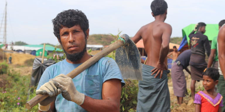 """If the Rohingya can get equality, I will go back. I hope that happens. If not, it is better to stay in Bangladesh"", says Faisal*, a day worker in the cash for work programme by IOM. (Photo: Ingrid Prestetun/NRC)"