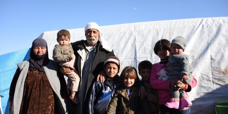 "Following their father's death and their mother's remarriage, the grandparents are looking after their eight grandchildren.  They fled the violence in ISIS-controlled Deir Az Zour and arrived in a camp in Hasakeh  on November 23.  ""I will be proud of them whatever they do. I want to be able to support them in whatever they choose"". Said the grandfather.  The grandmother wishes to go back home when it is safe. But ""our house is destroyed"" she said and the trip here will be too expensive.  Photo: NRC"