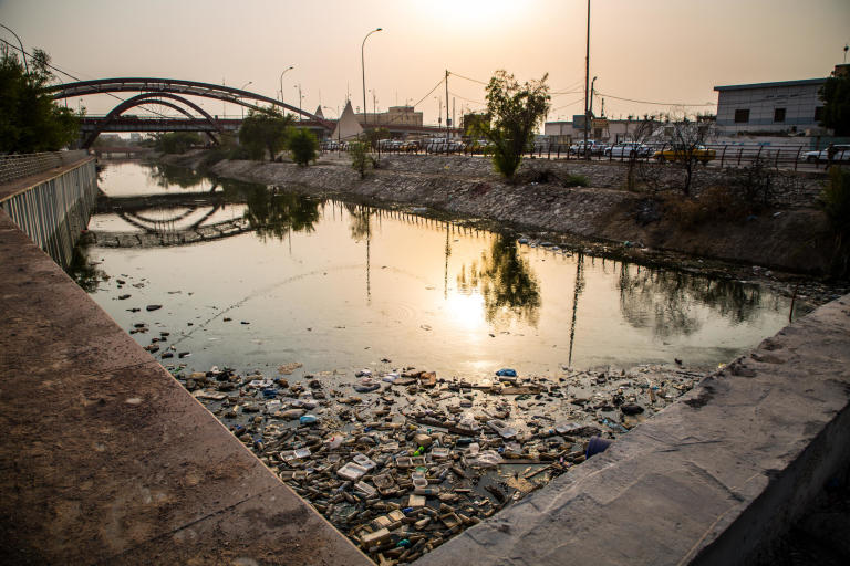 There are more than 40 canals in Basra. Every single one is highly concentrated with bacteria, chemicals, and salt. Most of them are littered with trash, plastic and debris.   These canals flow into Basra's main river Shat al Arab, where the water is pumped for its residents. This hazardous sanitary situation resulted in more than 100,000 cases of waterborne diseases in the last three month, fueling public anger and protests.  Photo: Tom Peyre-Costa/NRC