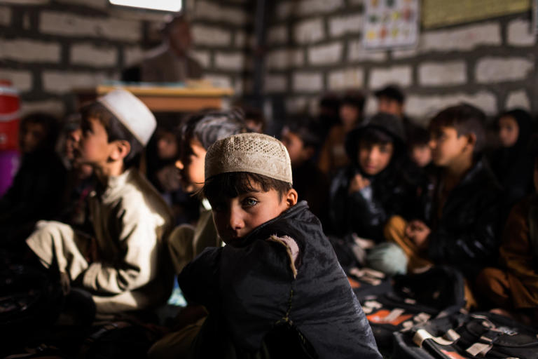 Students attend class at an elementary school run by NRC in the Gulan refugee camp.  Khost, February 2017  Photo NRC/Jim Huylebroek