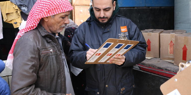 NRC's team is on the ground responding to the impact of storm Norma that hit Lebanon this winter. The field staff are distributing hygiene kits that include dshwashing liquid, laundary powder, bleach, toilet brush, sanitary pads, soap, bathing soap, hair shampoo, tooth paste, and tooth brush, that can help refugees cope with the harsh winter conditions.  Photo: Nadine Malli/NRC