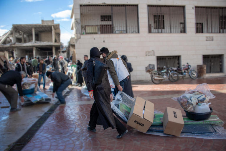 Families living in Eastern Ghouta begin to collect their relief items to help them get through Syria's winter. In recent weeks, heavy rains and plummeting temperatures have increased the need for these basic household items. Photo: Tareq Mnadili/NRC