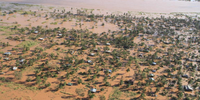 Flooding of the Buzi area, a town and district south of Beira city in Mozambique. The flooding is due to the Idai cyclone that hit Mozambique, Malawi and Zimbabwe in March 2019. (Photo: OCHA/Saviano Abreu)