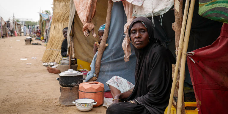 Portrait of a displaced woman at one of the unformal sites hosting displaced families in Maiduguri, Northeast Nigeria. Credit: Hajer Naili