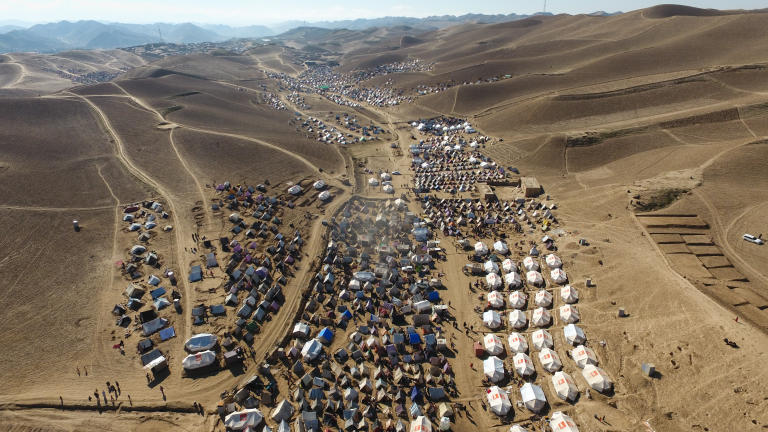 Drone photo showing the size and scale of a site for displaced people in north-west Afghanistan.