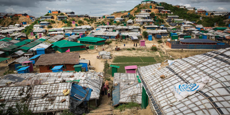 The refugee camp in Cox's Bazaar, Bangladesh, is built on sandy hills where there once used to be forests. The hilly landscape is a challenging area to house hundreds of thousands of refugees.