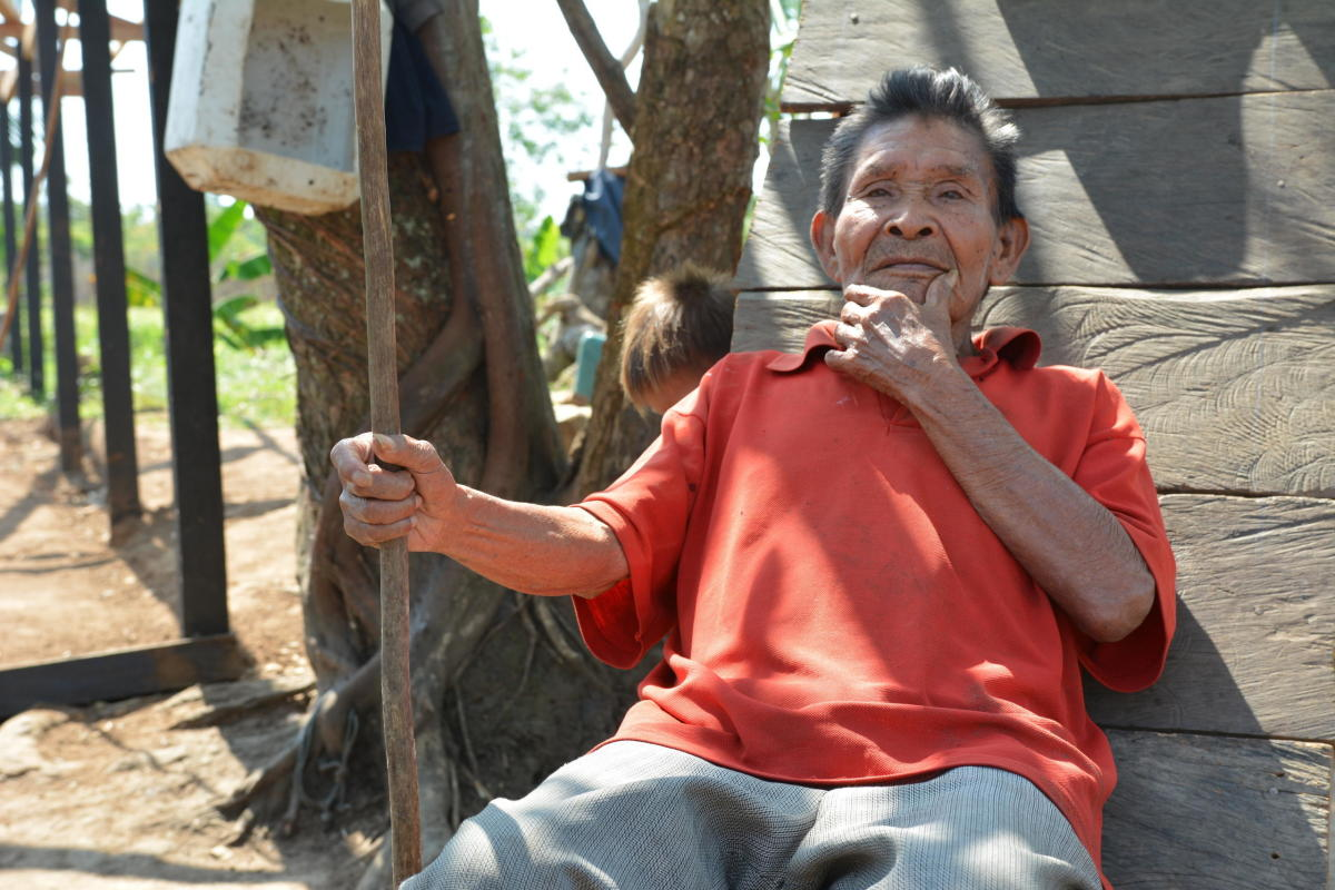 Vicente      sits in the sun  He explains the merits of the handmade